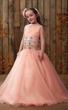 rosa eine Schulter Perlen Kinder Ballkleid GACH002