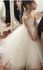 Ballkleid Illusion Spitze Kinder Mädchen Kleid GACH005