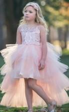 niedlich hoch niedrig rosa Kinder Mädchen Abschlussballkleid GACH007