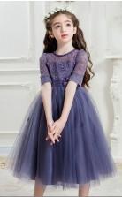 Prinzessin Juwel Kurzarm lila Spitze Tüll Tee Länge Kinder Abendkleid (GACH016)