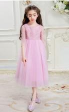 Prinzessin Juwel halbe Ärmel Süßigkeiten rosa Tüll Tee Länge Kinder Ballkleid (GACH023)