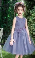 Prinzessin Juwel ärmelloses lila Organza Tee Länge Kinder Ballkleid (GACH024)