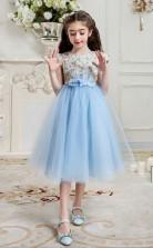 Prinzessin Juwel Kurzarm hellblau Tüll Spitze Tee Länge Kinder Abendkleid (GACH026)