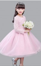 A-Linie Juwel Langarm Süßigkeiten rosa Organza Spitze Tee Länge Kinder Abendkleid (GACH027)