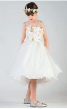 A-Linie Juwel ärmelloses elfenbeinfarbenes Tüll knielanges Kinder Abendkleid (GACH028)