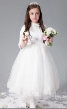 Prinzessin High Neck 3/4 Länge Ärmel weiß Satin Chiffon Tüll Tee Länge Kinder Ballkleid (GACH031)