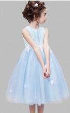 Prinzessin Juwel ärmelloses himmelblaues Tüll Tee Länge Kinder Abendkleid (GACH032)