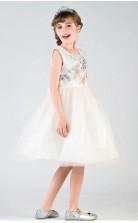 Prinzessin Juwel ärmellose beige Tüll knielange Kinder Ballkleid (GACH034)