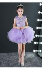 Ballkleid Juwel ärmelloses lila Tüll Mini Kinder Abendkleid (GACH036)