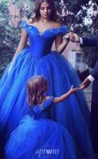 Ballkleid von der Schulter Kurzarm blau Tüll Tee Länge Kinder Abendkleid (GACH037)