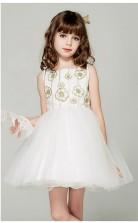 Prinzessin Bateau ärmelloses Elfenbein Organza Mini Kinder Ballkleid (GACH049)