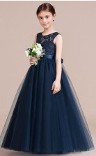 A-Linie Juwel ärmelloses dunkelblaues Tüll bodenlanges Kinderballkleid (GACH053)