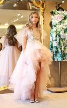 rosa hoch niedrig kleine Mädchen Festzug Kleider 3d appliziert eine Linie abgestufte Blumenmädchen Kleid Tüll Perlen Erstkommunion Kleid GACH065
