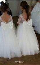 Kinder lange Ärmel erste heilige Kommunion Kleid weiße Spitze Blumenmädchen Kleid GACH068