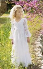 Boho Chic Blumenmädchen Kleid Vintage lange Ärmel Junior Brautjungfer Kleid bodenlange böhmische 1. Kommunion Kleid kleine Mädchen GACH073