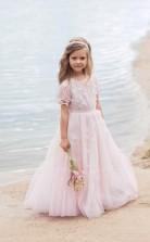 erröten rosa kleines Blumenmädchenkleid mit Perlenapplikation Kinderpartykleid mit Kurzarmgeburtstagskommunionskleid GACH074