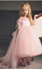 Pinky High Low Girls Ballkleid Mit Blumen GBCH005