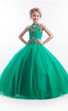 Smaragdgrüne Kinder Mädchen Festzug Kleider Partykleider mit Neckholder GBCH013