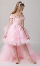 Von Der Schulter Rosa Kinder Hoch Niedrig Festzug Kleid GBCH014