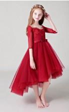 Rote Mädchen Hoch Niedrig Partykleider Mit Halben Ärmeln GBCH018