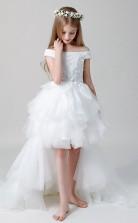 Weiß Von Der Schulter Kommunion Kleid Hoch Niedrig Festzug Kleider GBCH022