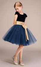 Schwarz Tüll Flanell Kinder Mädchen Blumenmädchen Kleid Mit Kurzen Ärmeln GBCH031