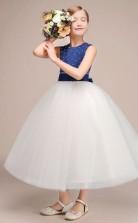 Schöne Königsblaue Tüll Satin Kinder Mädchen Geburtstagsfeier Kleid GBCH032