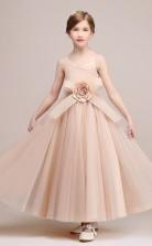 Prinzessin Rosa Satin Chiffon Kinder Mädchen Geburtstagsfeier Kleid GBCH033