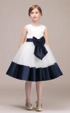 Weißes Satin Tüll Kinder Mädchen Knielanges Geburtstagsfeier Kleid Mit Schleife GBCH038
