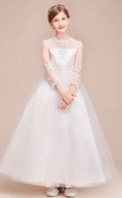 Weiße Spitze Tüll Kinder Mädchen Langarm Geburtstagsfeier Festzug Kleid GBCH039