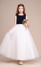 Weißer Tüll Chiffon Kinder Mädchen Geburtstagsfeier Kleid GBCH040