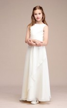 Weiße Chiffon Kinder Mädchen Brautjungfern Kleid GBCH042