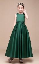 Erschwingliches DunkelgrÜnes Juwel Junior Brautjungfernkleid Bodenlanges Festzugskleid Mit Handgefertigten Blumen GBCH049