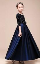 Erschwingliches Dunkelblaues Juwel Junior Brautjungfernkleid Bodenlanges Festzugskleid Mit SchÄrpen GBCH050