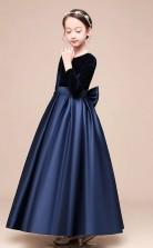 Erschwingliches Dunkelblaues Juwel Junior Brautjungfernkleid KnÖchellanges Festzugskleid Mit Schleifen GBCH051