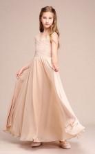 Erschwingliches Champagner V-ausschnitt Junior Brautjungfernkleid Bodenlanges Festzugskleid Mit Spitzendetails GBCH053