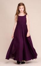 Erschwingliche Traube Ein Schulter Junior Brautjungfernkleid Bodenlanges Festzugskleid Mit Handgemachten Blumen GBCH060