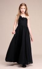 Erschwingliches Schwarzes Einschulteriges Junior-brautjungfernkleid Bodenlanges Festzugskleid Mit Handgefertigten Blumen GBCH061