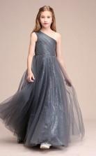 Erschwingliches Silbernes Einschulteriges Junior-brautjungfernkleid Bodenlanges Festzugskleid GBCH062