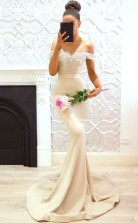 Schulterfreie Brautjungfernkleider Elegante Spitze Trauzeugin Kleider BED06042