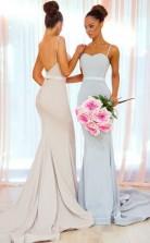Einfache Lange Meerjungfrau Brautjungfernkleider Spaghettiträger Rückenfreies Hochzeitsfestkleid BED06062