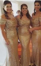 Gold Pailletten Brautjungfernkleider Von Der Schulter Sexy Meerjungfrau Trauzeugin Kleider BED142