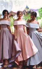 Schulterfreie Brautjungfernkleider Hallo-lo Rüschen Elegante Trauzeugin Kleider BED162