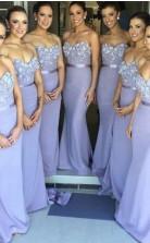 Lavendel Meerjungfrau Lange Brautjungfernkleider Schatz Handgemachte Blumen Trauzeugin Kleider BEO77842