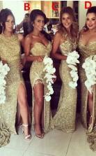 Sexy Pailletten Meerjungfrau Brautjungfernkleider Seitenschlitz Applikationen Formale Hochzeitskleider BEO81282