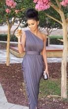 Eine Schulter Lange Brautjungfernkleider Graue Rüschen Formale Abendkleider BEO89012