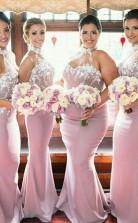 Brautjungfernkleider Mit Stehkragen Meerjungfrau Satin Mit Handgefertigten Blumen Trauzeugin Kleider BEO89162