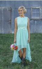 Billige A-line Mint Chiffon Brautjungfernkleider Applikationen Hallo-lo Prom Kleider BEO92022