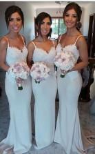 Weiße Sexy Charmante Brautjungfernkleider Spaghetti-trägerspitze Herrliche Hochzeitskleider BEO95642