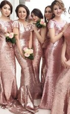Roségold Meerjungfrau Brautjungfernkleider Kurze Ärmel Bling Bling Metallic Hochzeitskleider BEQ13722